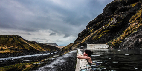 Steffe at the geothermal pool