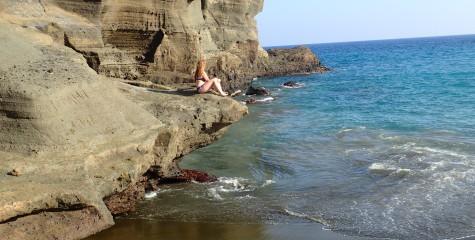 Me being a mermaid at Green Sand Beach